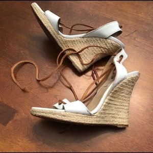 Michael Kors White Leather Wedge Sandals Ankle Tie